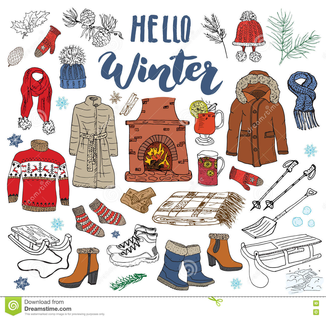 dcb5615a66f9 Winter Season Set Doodle Elements. Hand Drawn Sketch Colection With ...