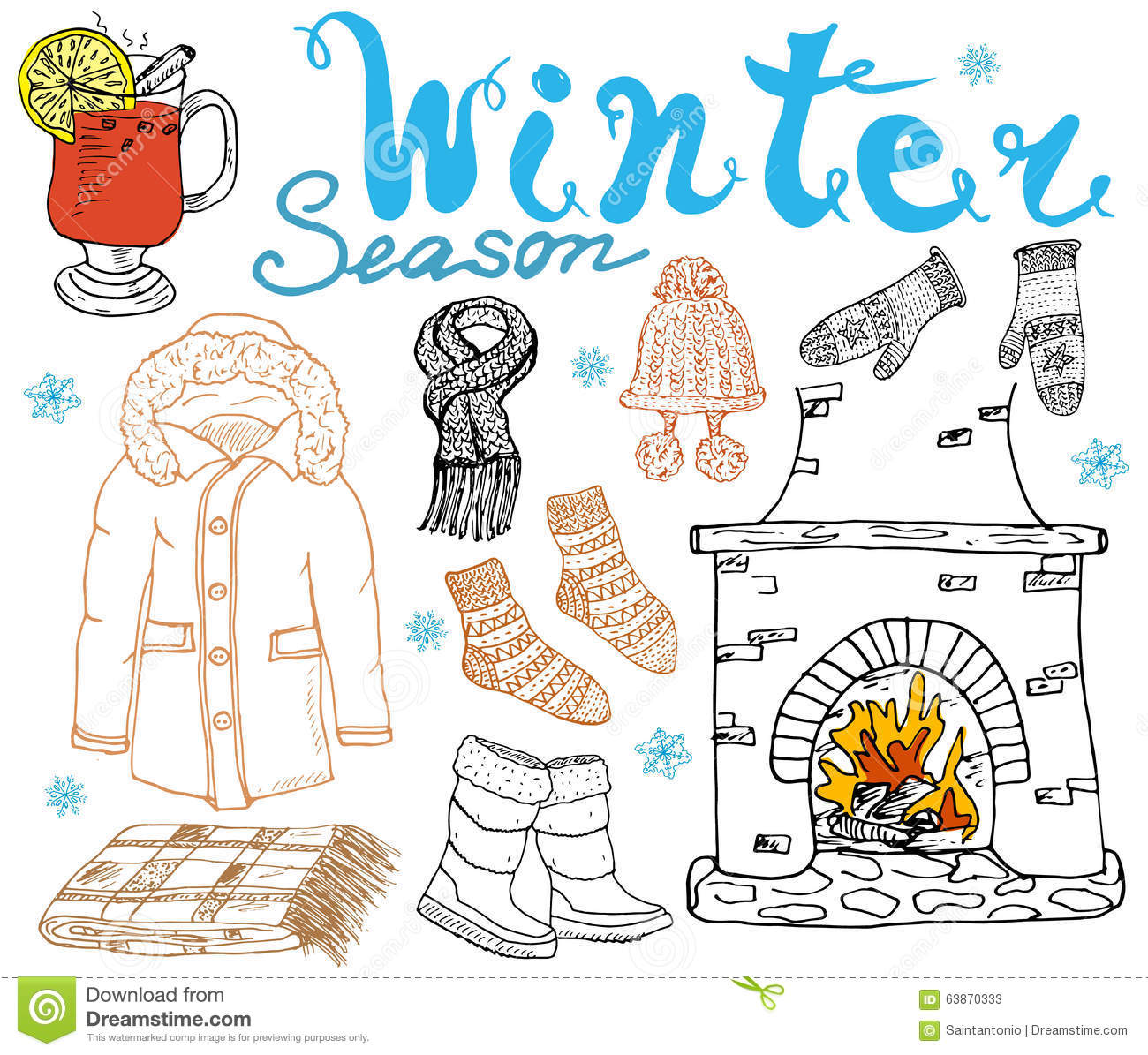 winter season set doodles elements hand drawn set with glass of