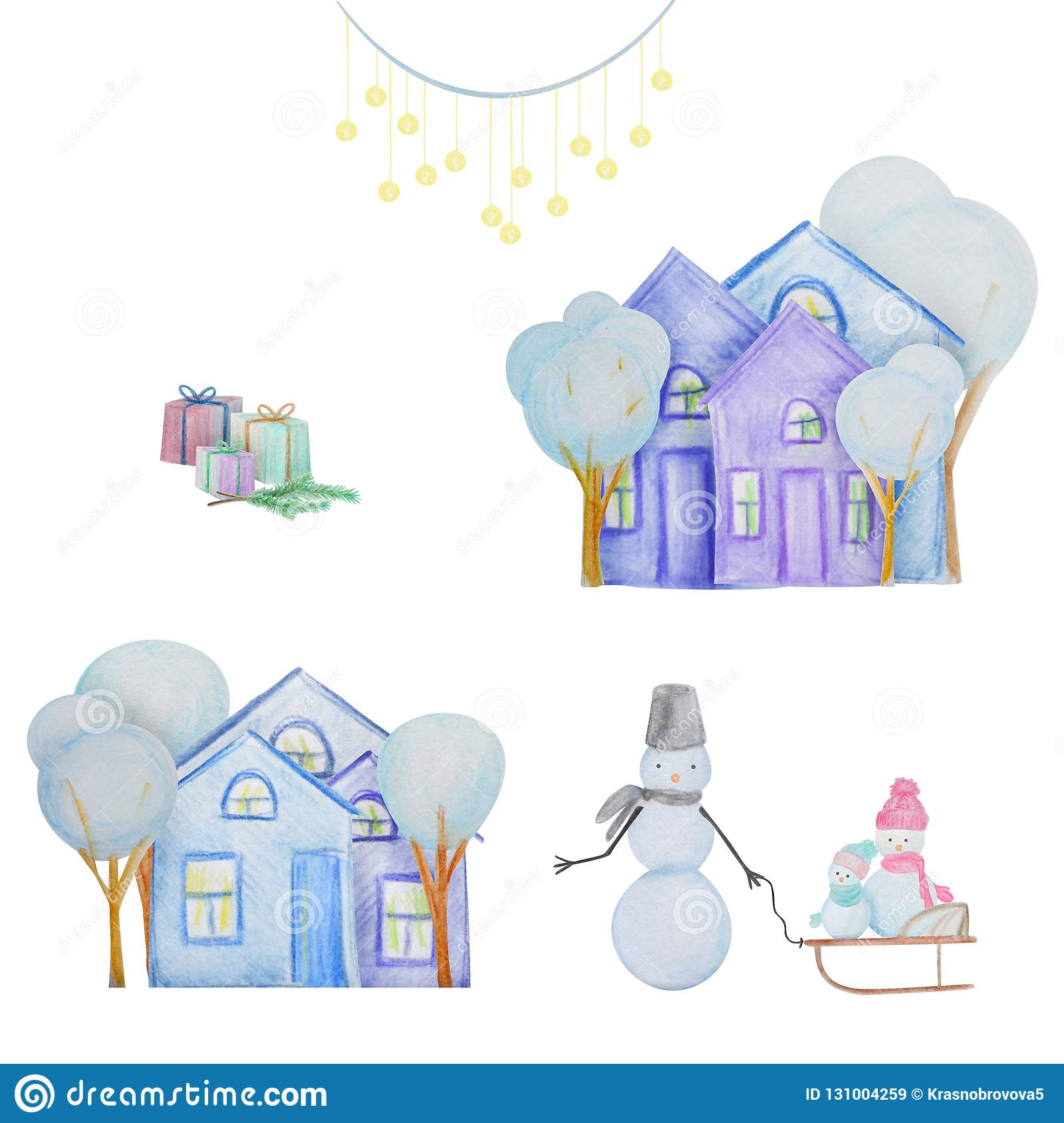 Winter set with snowmen and houses painted with colored watercolor pencils