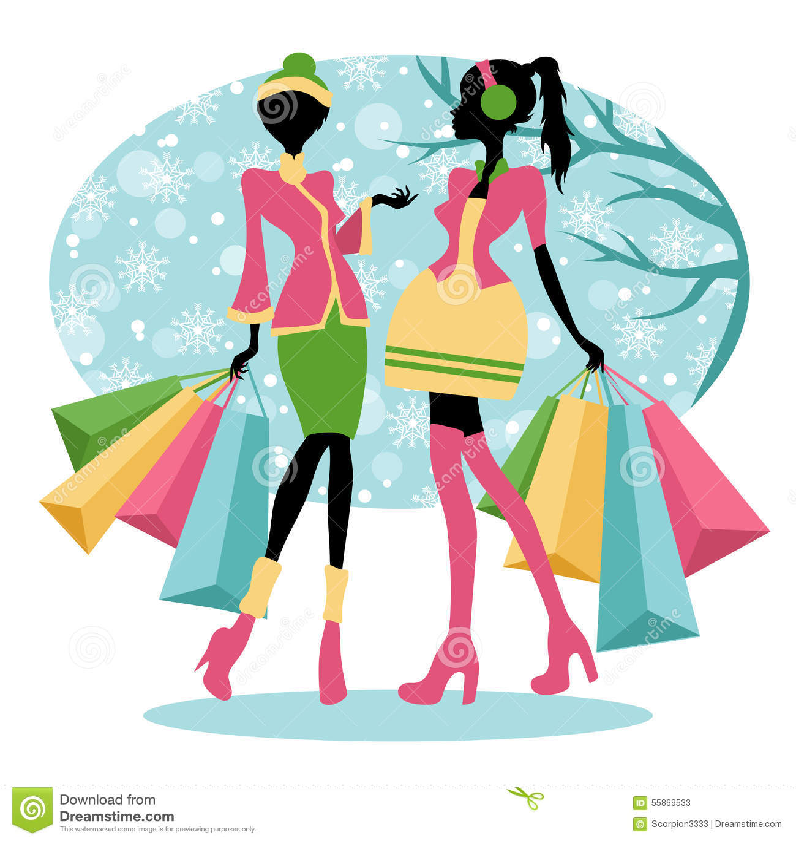 6ed3069e4274 Winter shopping girls stock illustration. Illustration of beautiful ...