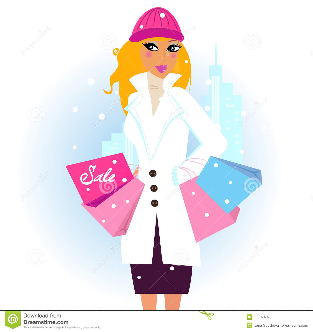 Winter shopping: woman with shopping bags in city