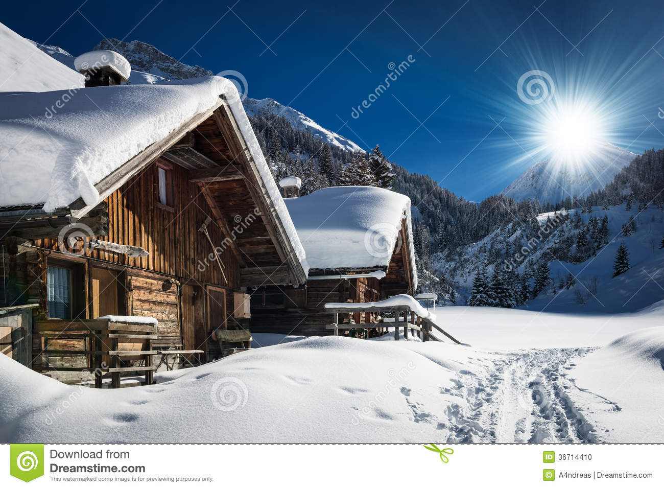 Winter ski chalet and cabin in snow mountain stock photo for Ski cottage