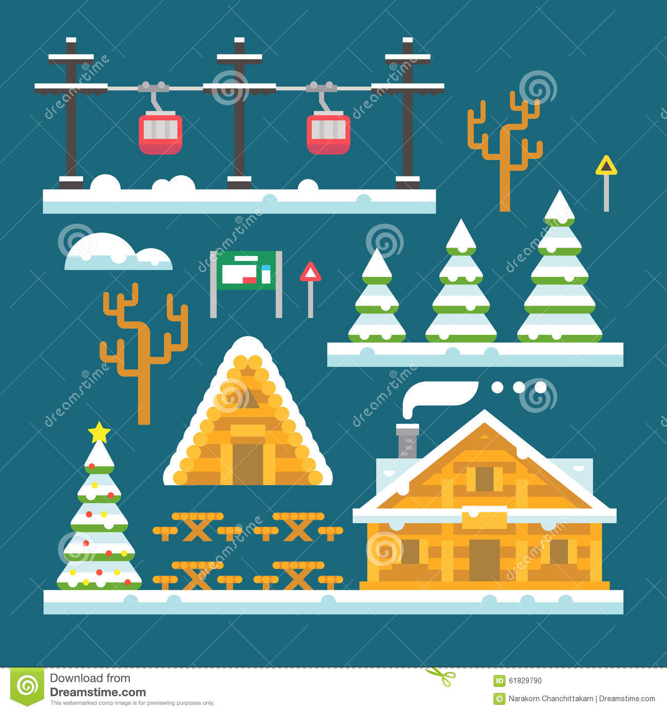Winter ski resort flat design stock illustration image for Designhotel ski