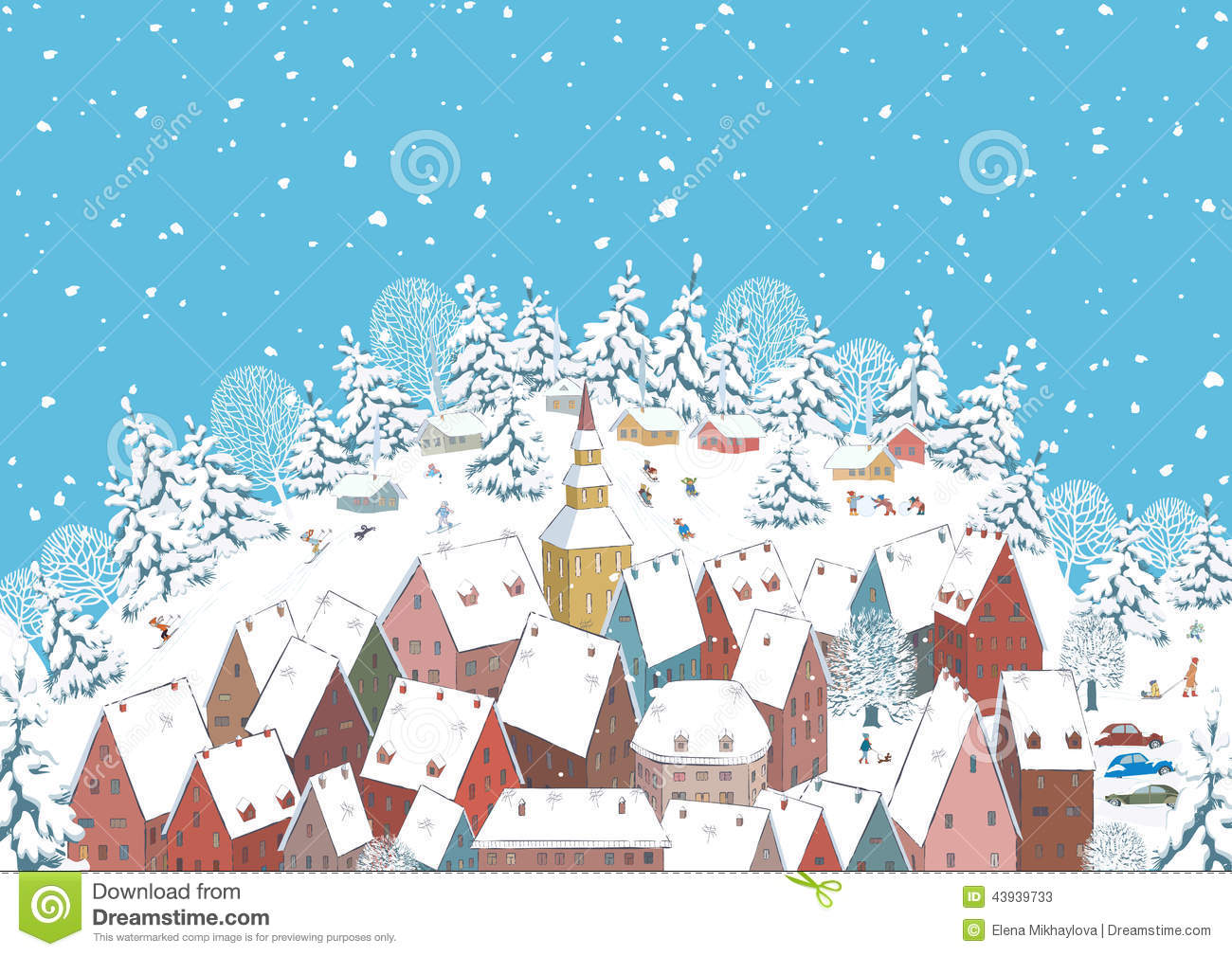 Winter In A Small Town Stock Vector Image Of House