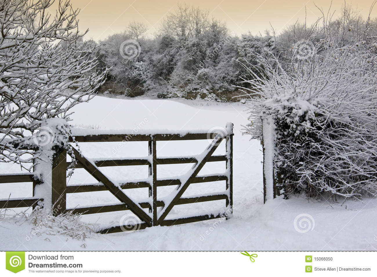 Winter Snow Countryside England Stock Photo Image