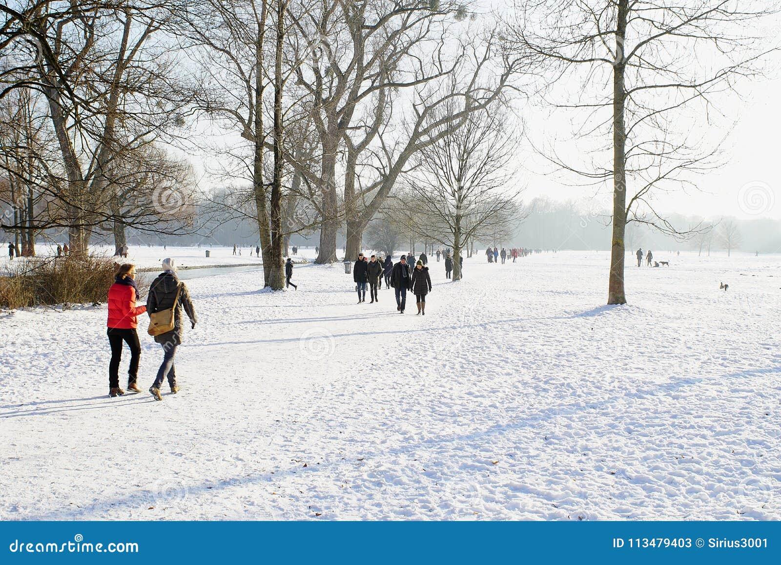 Winter snow in English Garden, Munich
