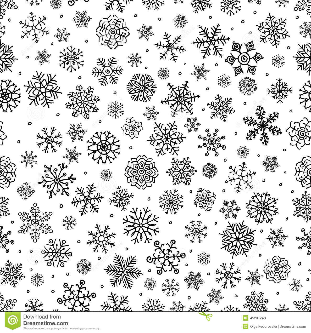 Winter Snow Flakes Doodle Seamless Background Stock Vector ... for Snow Background Clipart Black And White  585ifm
