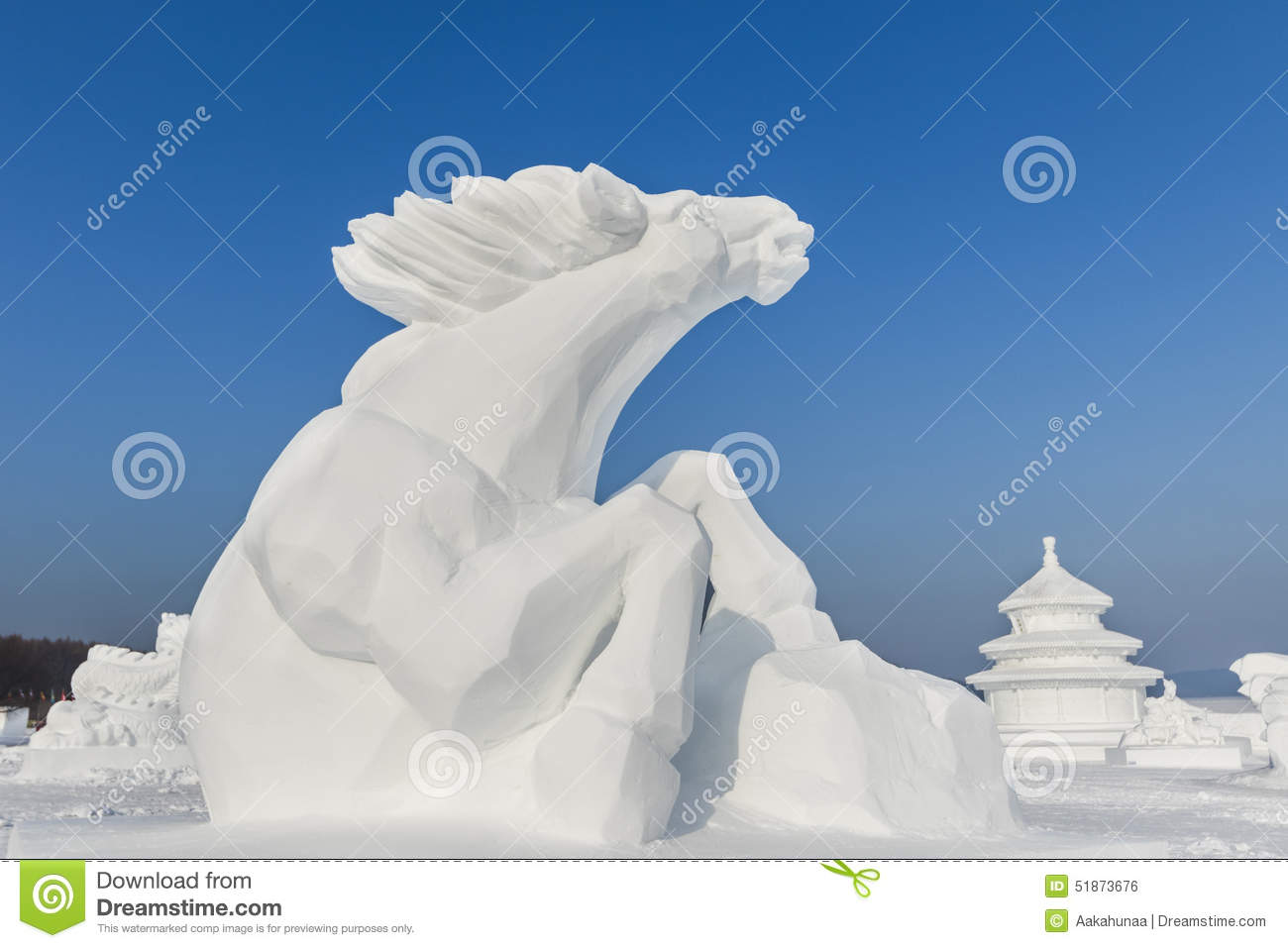 Winter Snow And Ice Sculpture Horses Stock Photo Image Of Horses White 51873676