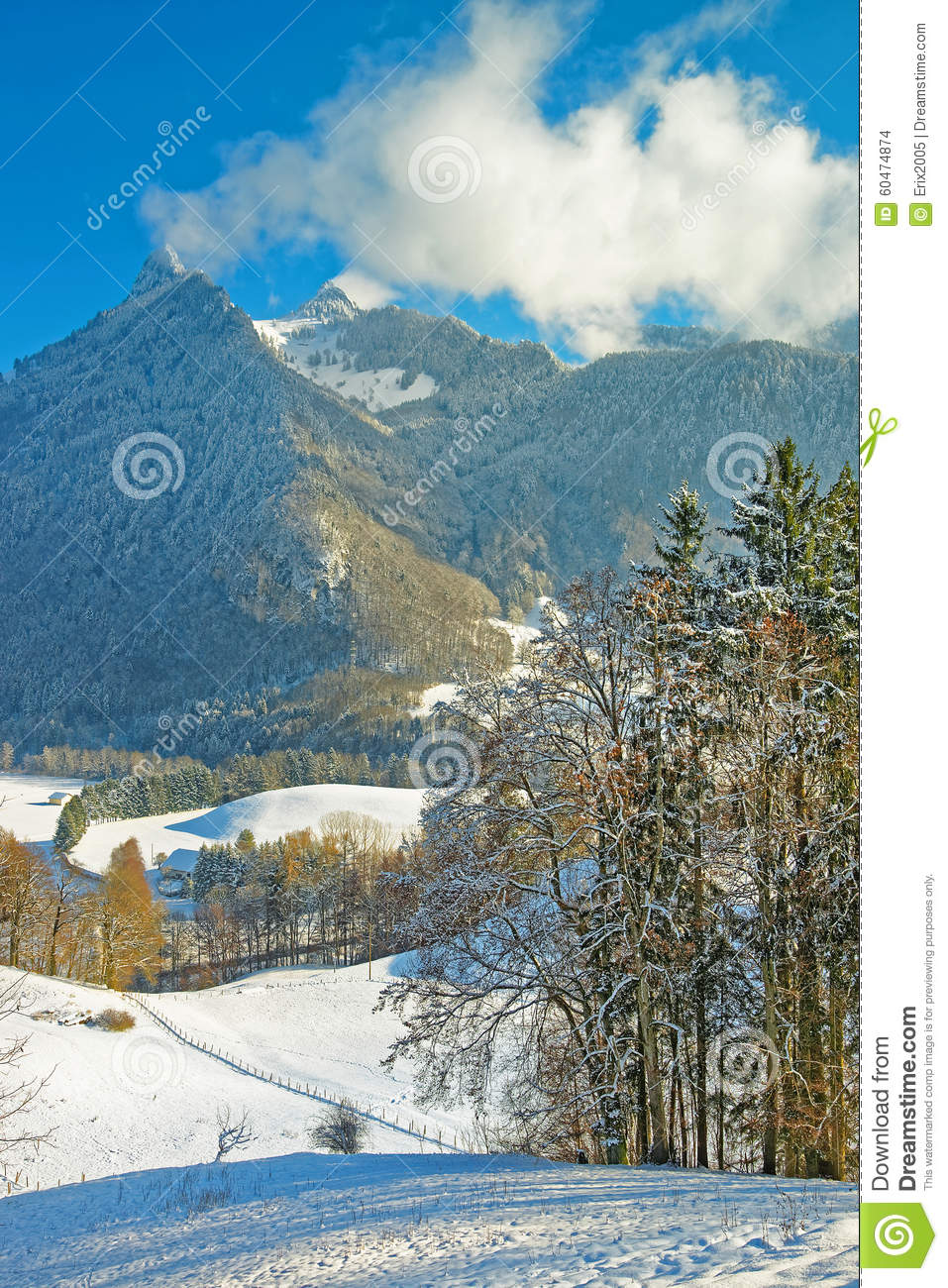Winter Snow Mountain Landscape Stock Photo - Image: 60474874