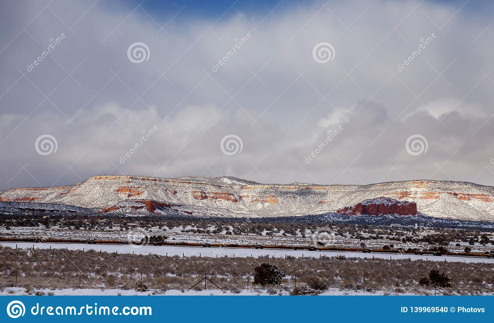 A winter snow on the road to park in southwest New Mexico