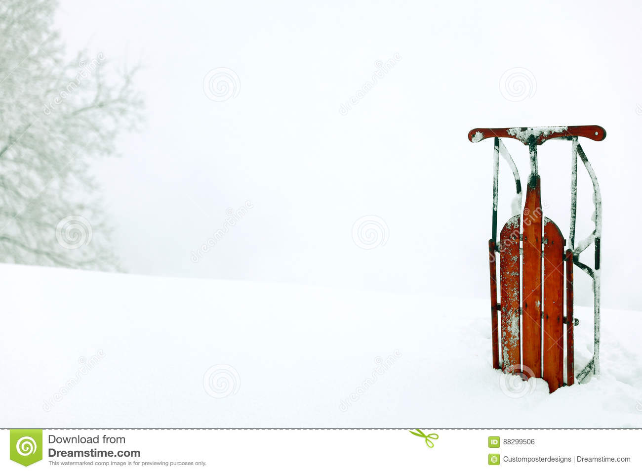 Download A Winter Snow Scene Background With A Red Vintage Upright Sled. Stock Photo - Image of picture, sledding: 88299506