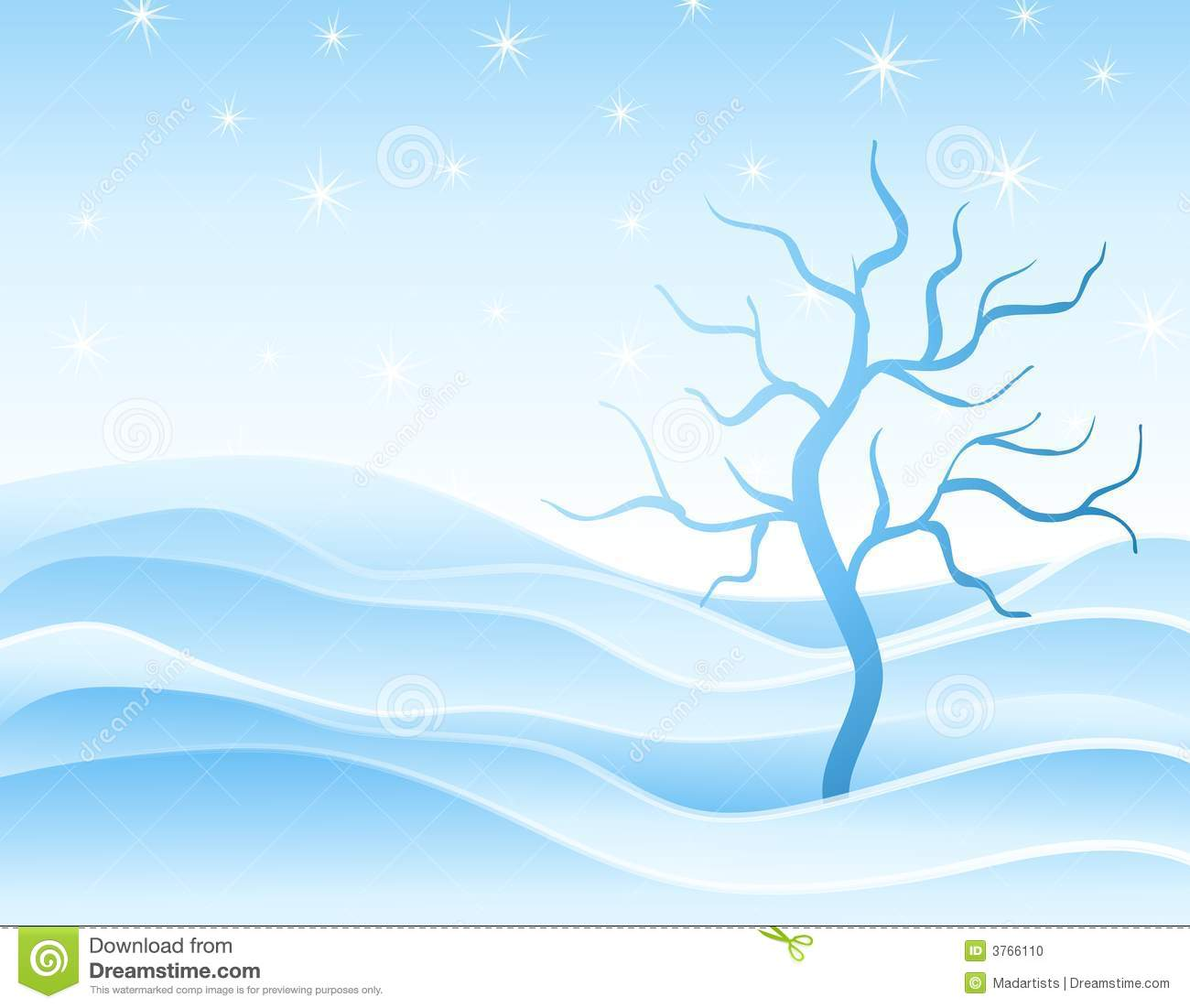 Winter Snowdrifts and Tree in Blue