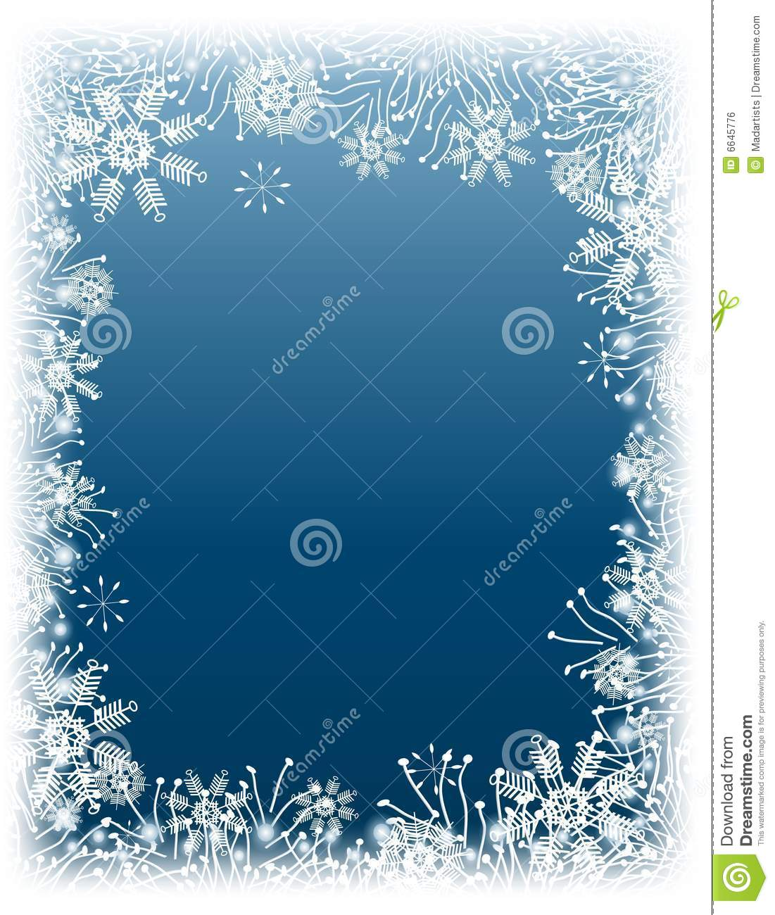 ... gradietn background decorated with a white winter snowflake border