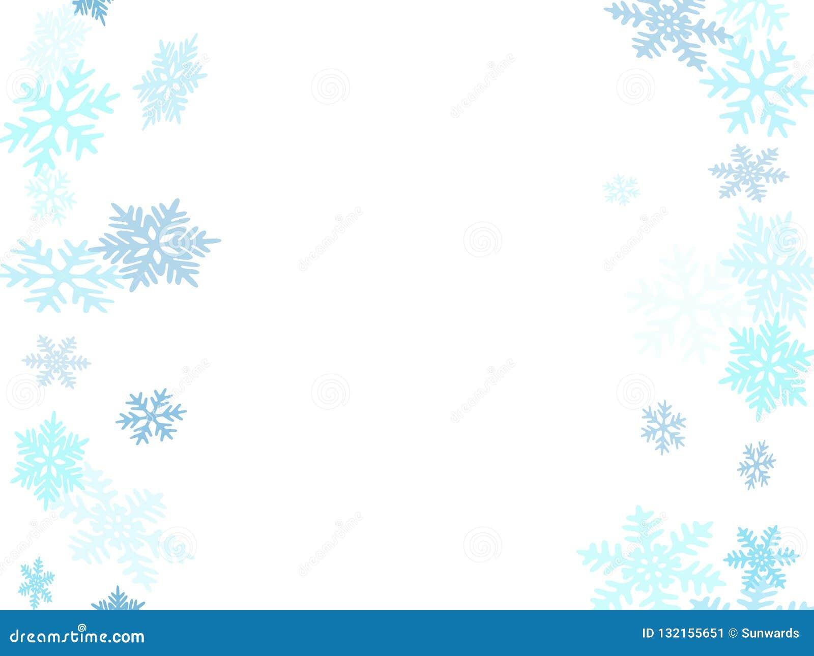 winter snowflakes border card vector background stock