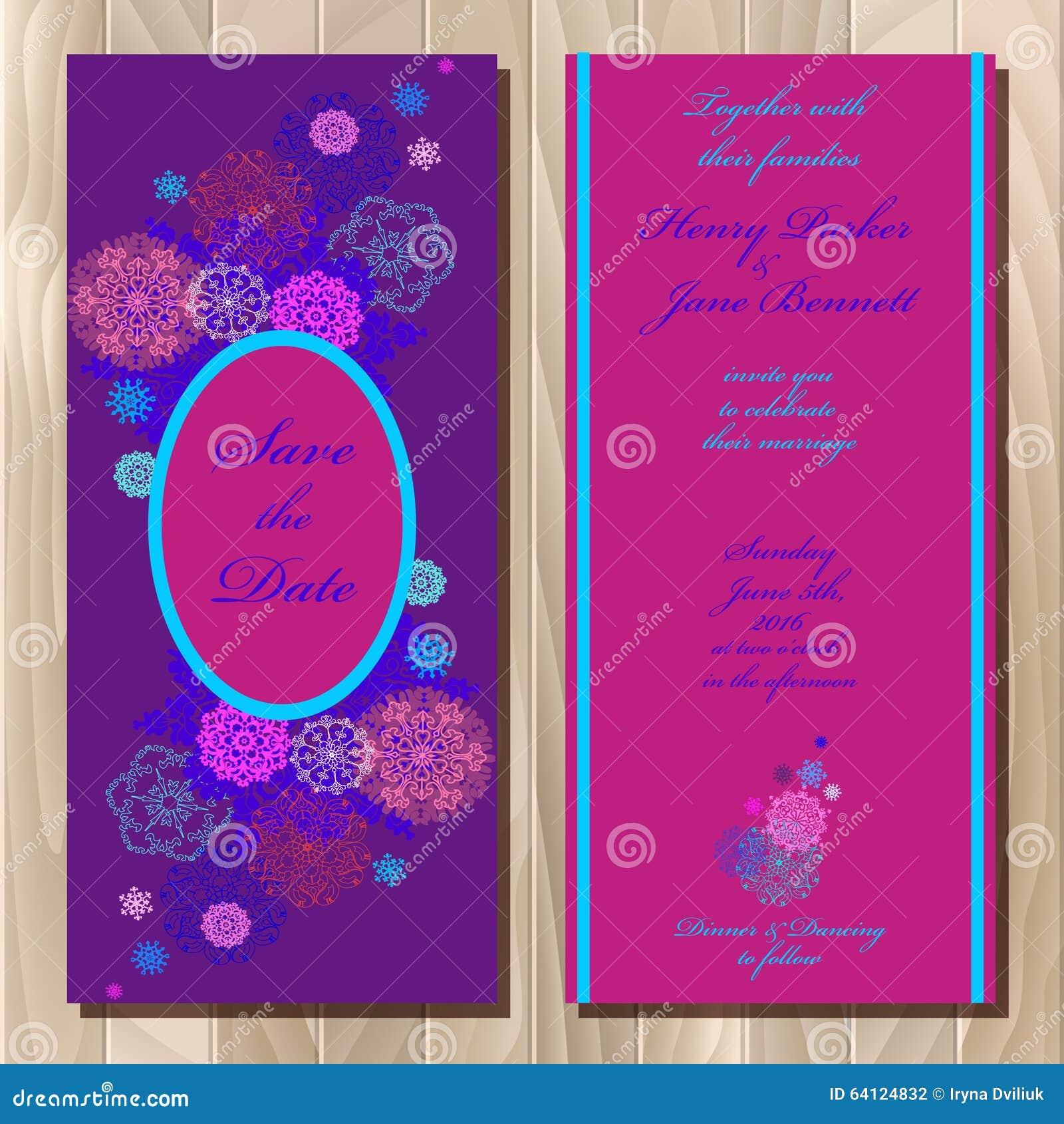 winter snowflakes design wedding invitation card wedding vector