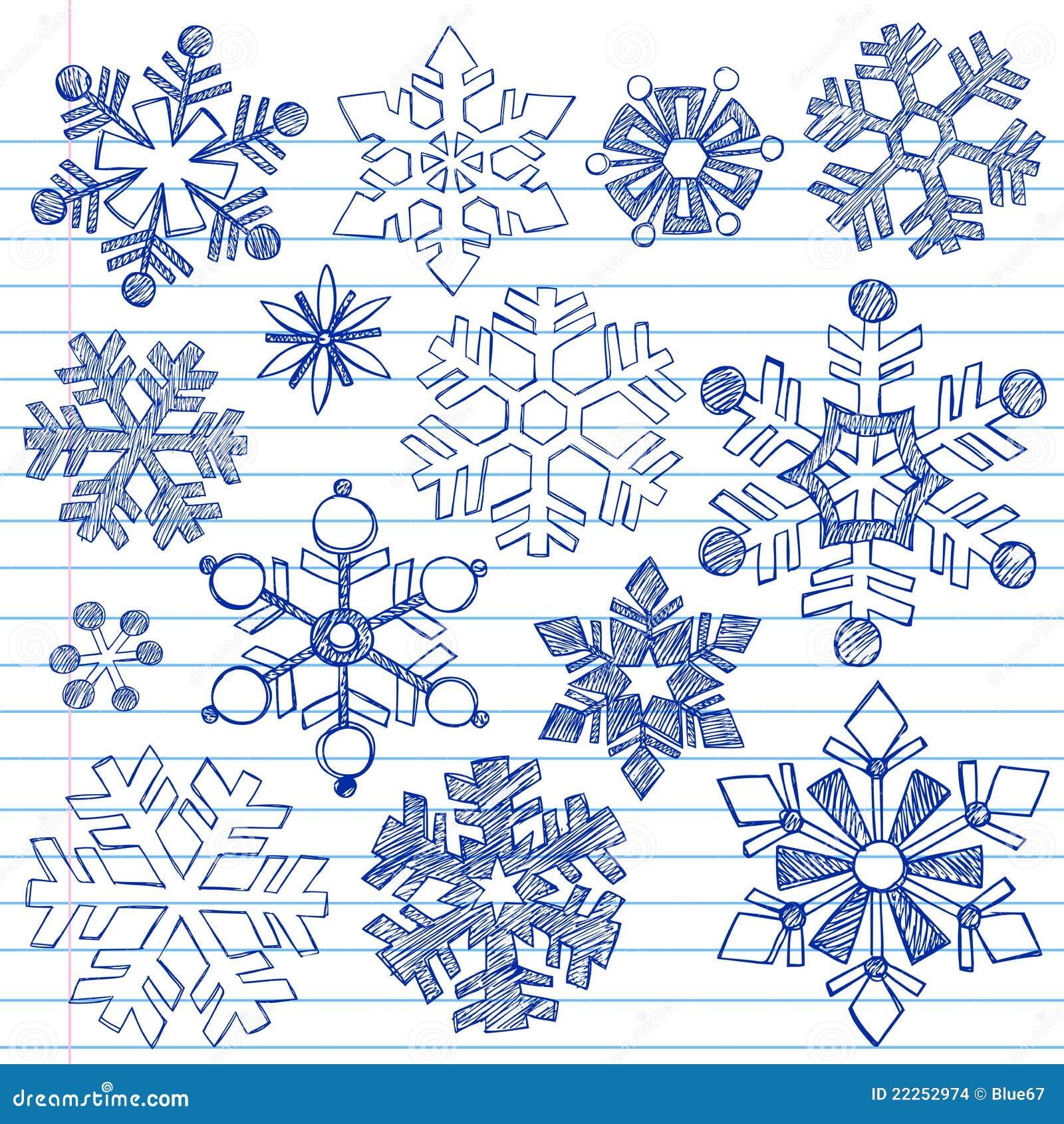 Winter snowflakes hand drawn sketchy doodles stock vector