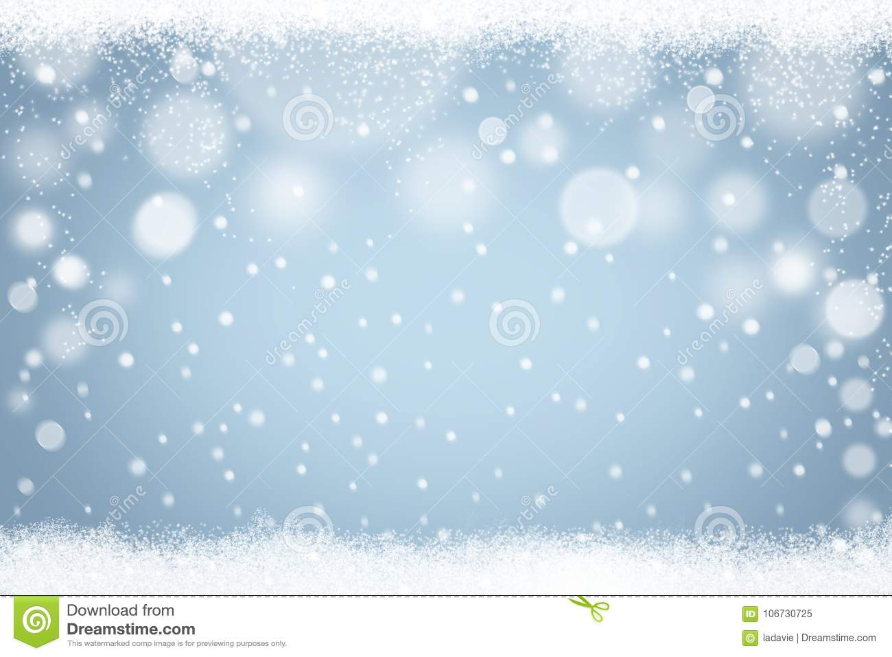 Winter snowflakes light blue bokeh background. Abstract Christmas holiday snow backdrop