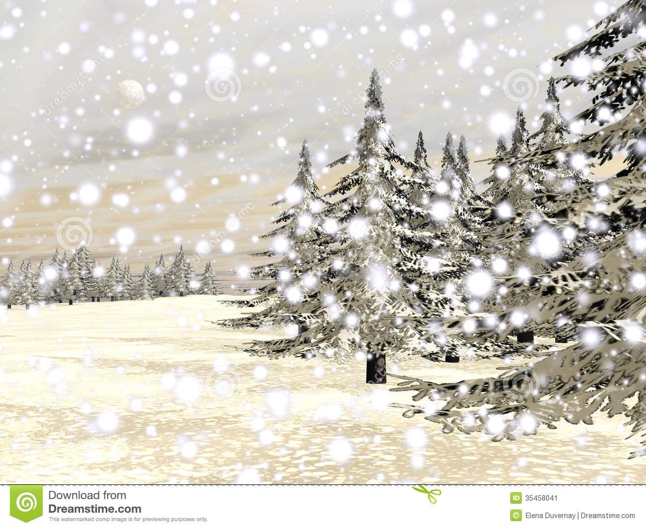 More similar stock images of 3d landscape with fall tree - Winter Snowing Landscape 3d Render Stock Image