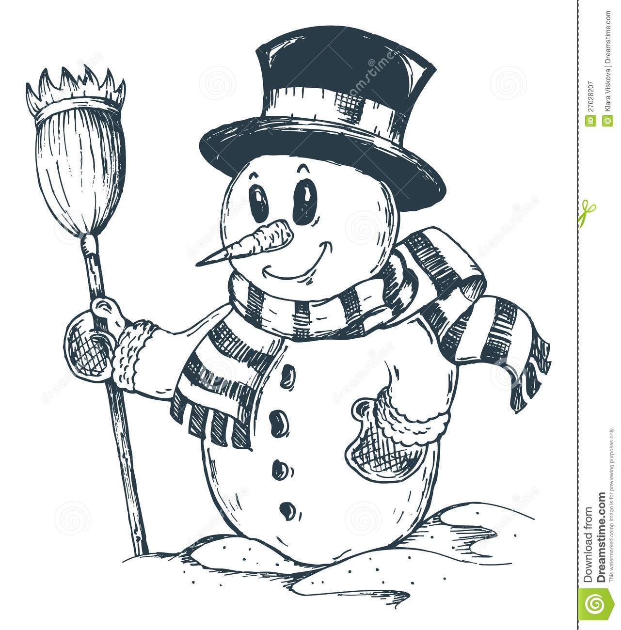 Winter Snowman Theme Drawing 1 Royalty Free Stock Photography - Image ...