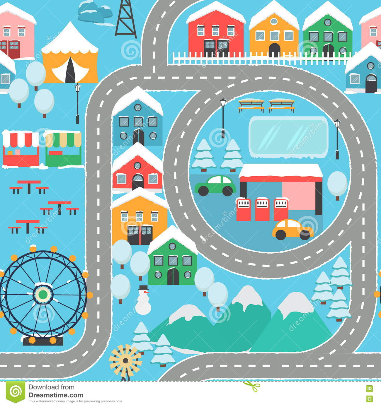 Car Track Play Placemat Cartoon Vector Cartoondealer Com