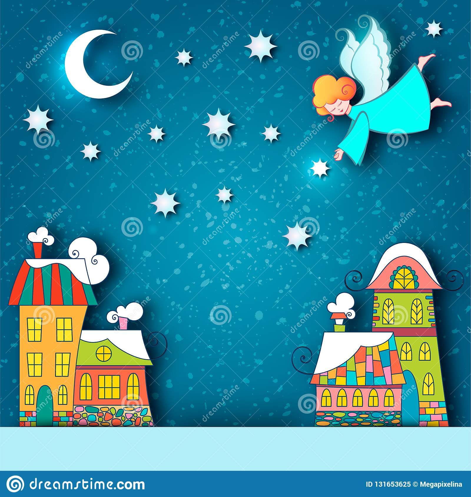 Winter Snowy City Landscape  Christmas Background With Fairy