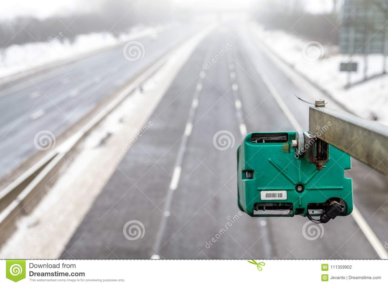 Winter Snowy Day View Of Average Speed Traffic Camera Over UK