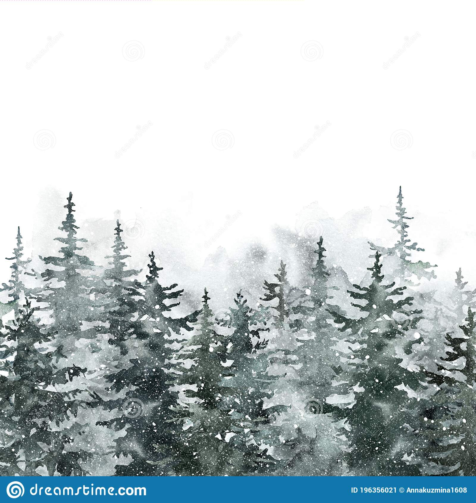 Winter Pine Tree Forest Watercolor Spruce Trees Landscape Illustration Snowy Foggy Woods Christmas Background Stock Image Image Of Season Cold 196356021