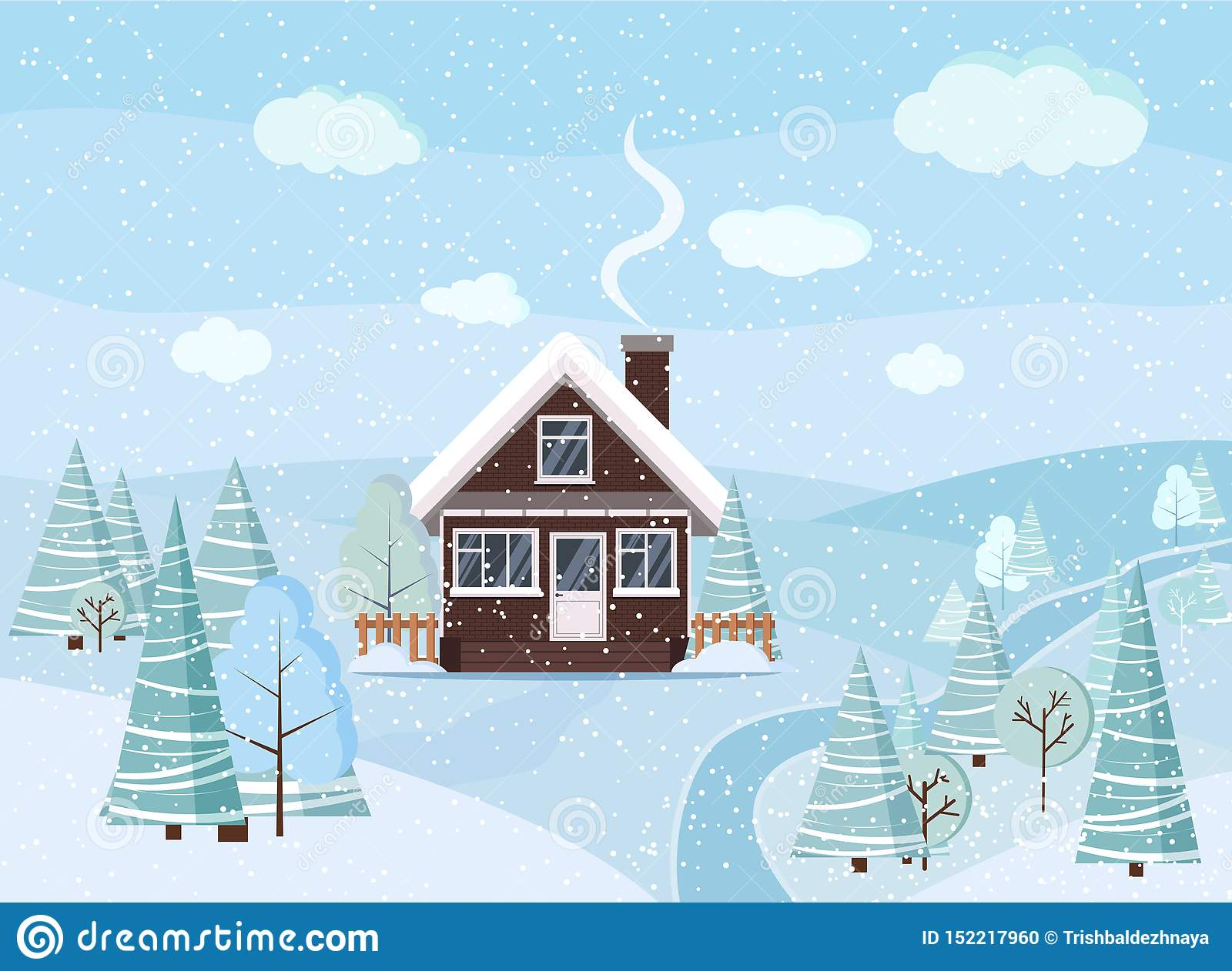 Winter snowy landscape scene with brick house, winter trees, spruces, clouds, river, snow, fields in cartoon flat style, Christmas
