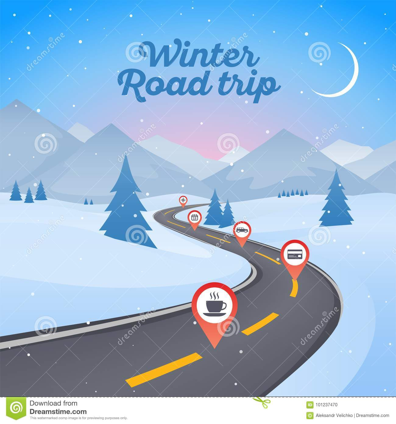 Winter snowy landscape with winding road pathway. New Year background