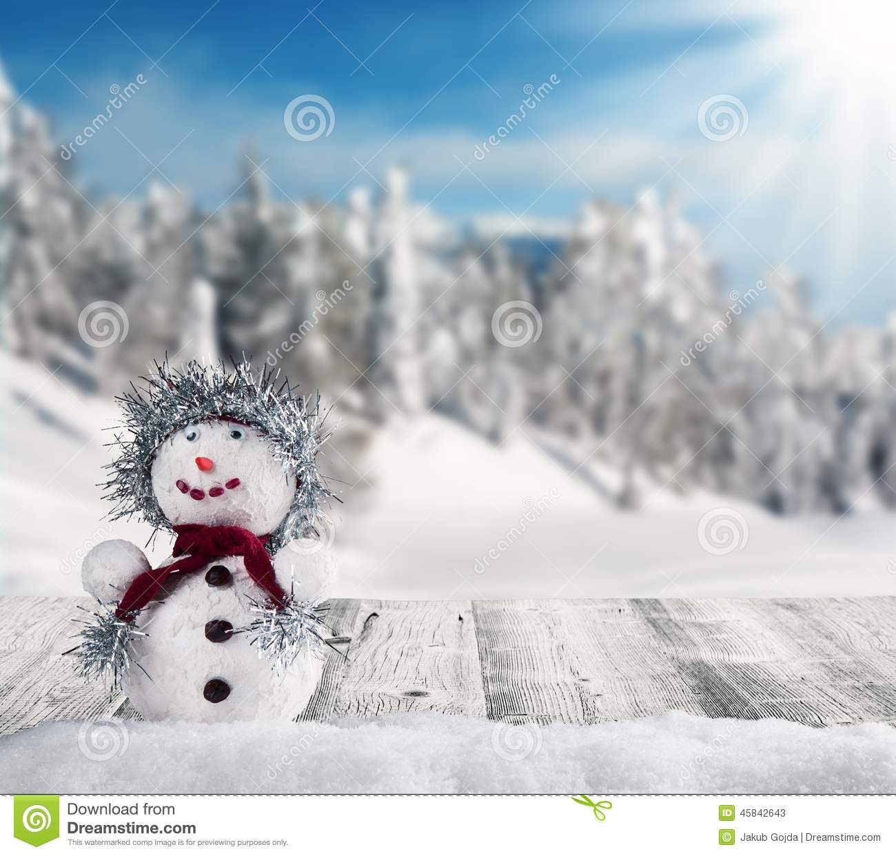 winter snowy scenery with snow man stock image