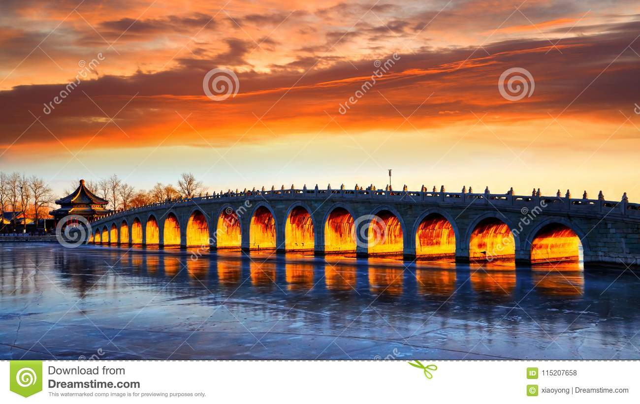 The 17-Arch Bridge magical sunset, Summer Palace, Beijing