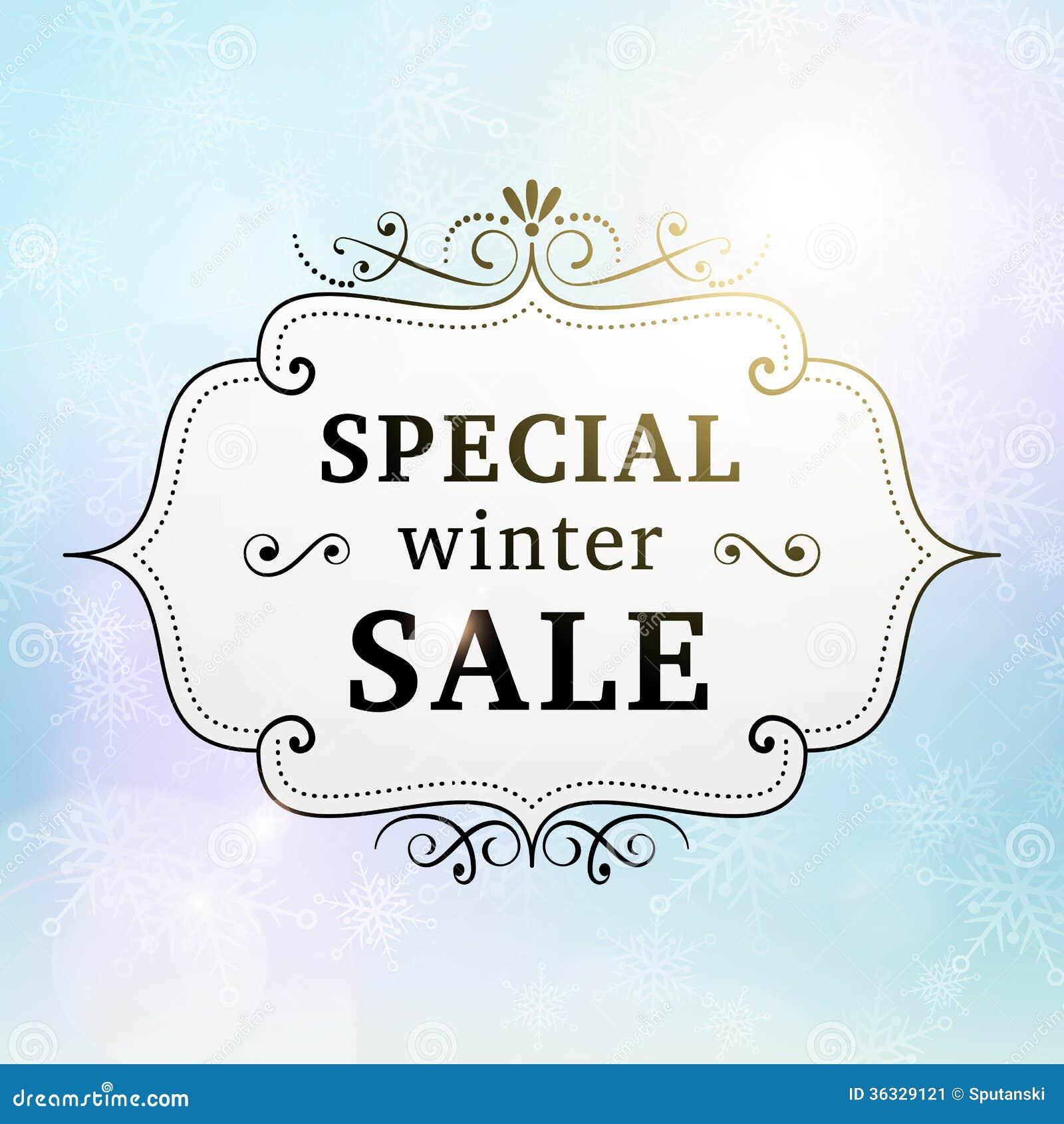winter special sale retro poster stock vector
