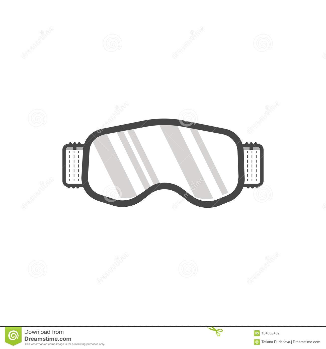 5346b694d71 Winter sport icon of Snowboard or ski goggles. Modern accessories isolated  on white background in flat style design. Elements for ski resort picture