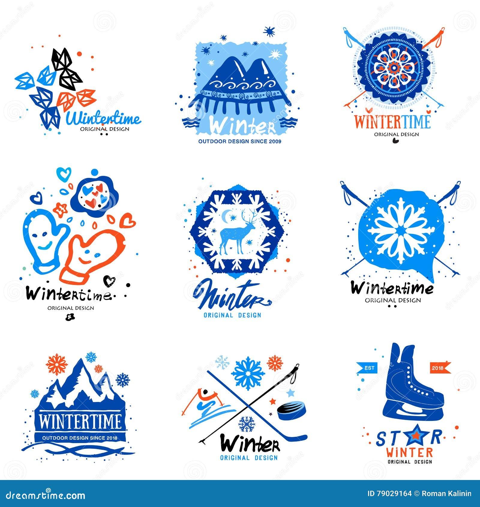 winter sport logo and illustration stock vector illustration of