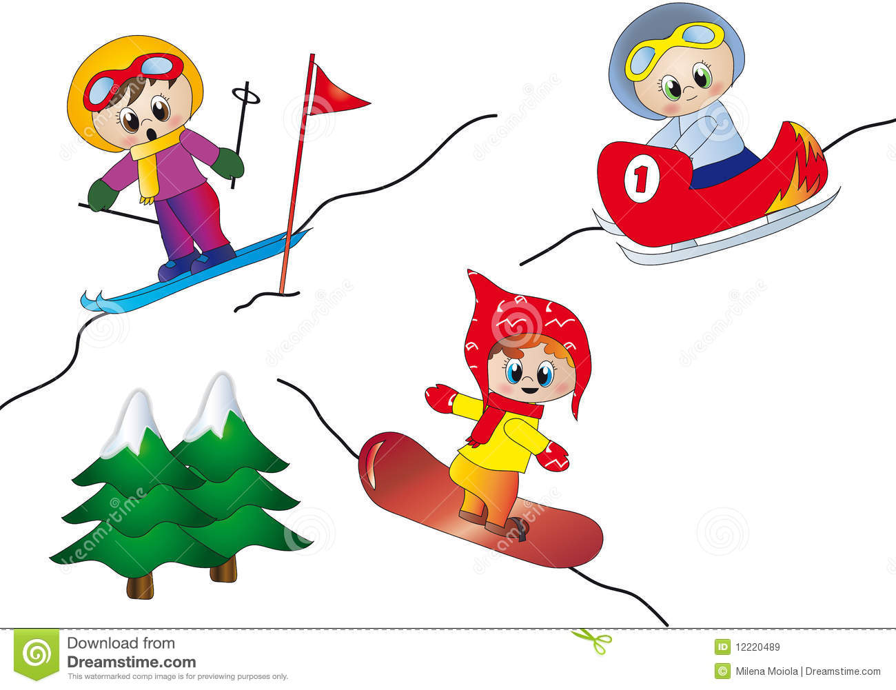 Illustration of winter sport: ski, snowboard and bobsleigh.