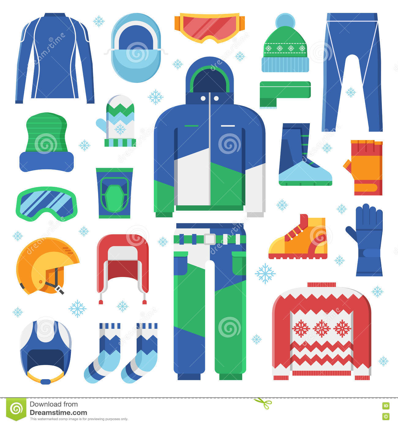 9eb4e9f1c2f Winter Sports Clothes And Accessories Icons Stock Vector ...