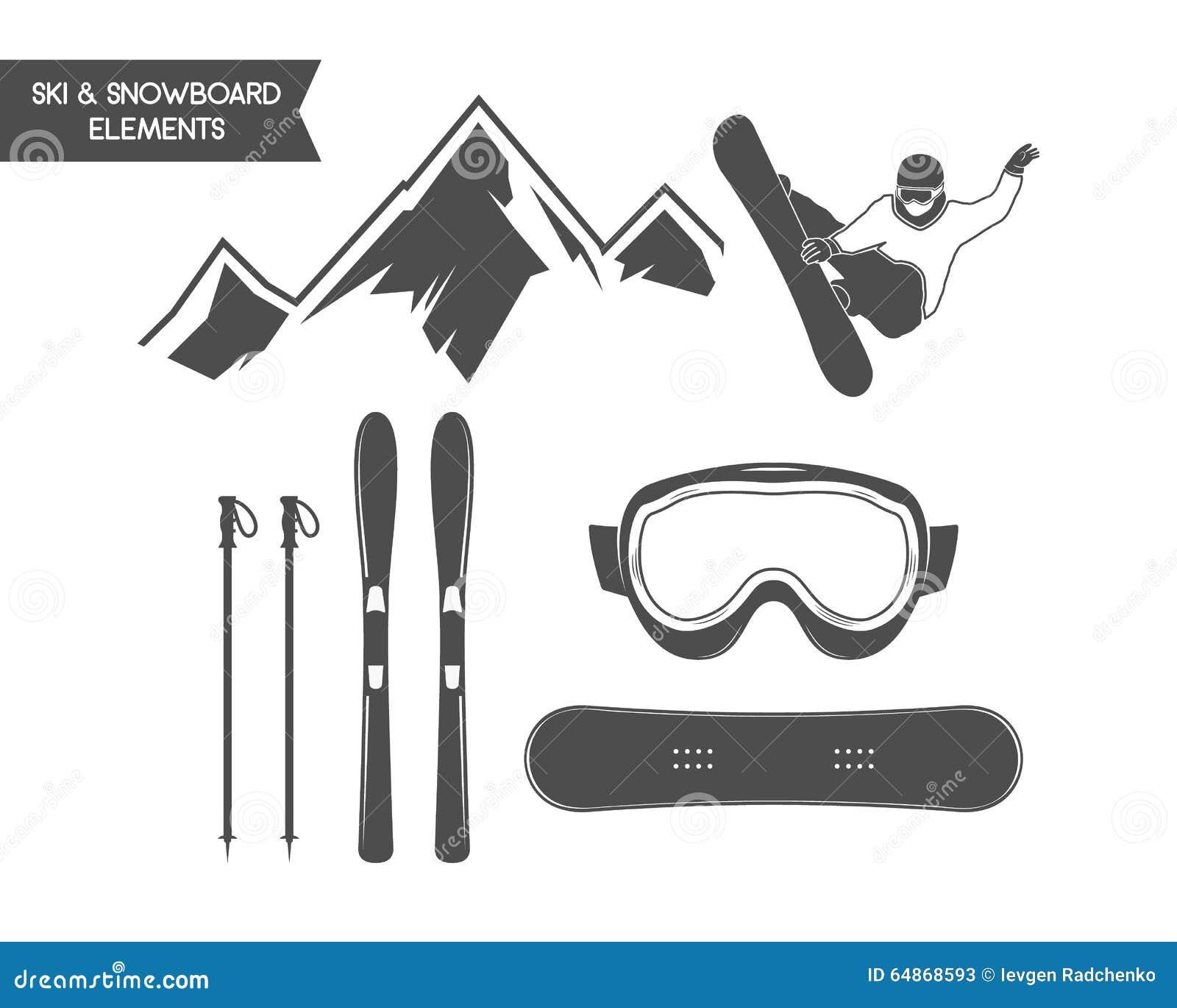 Winter sports elements. Snowboard, ski symbols