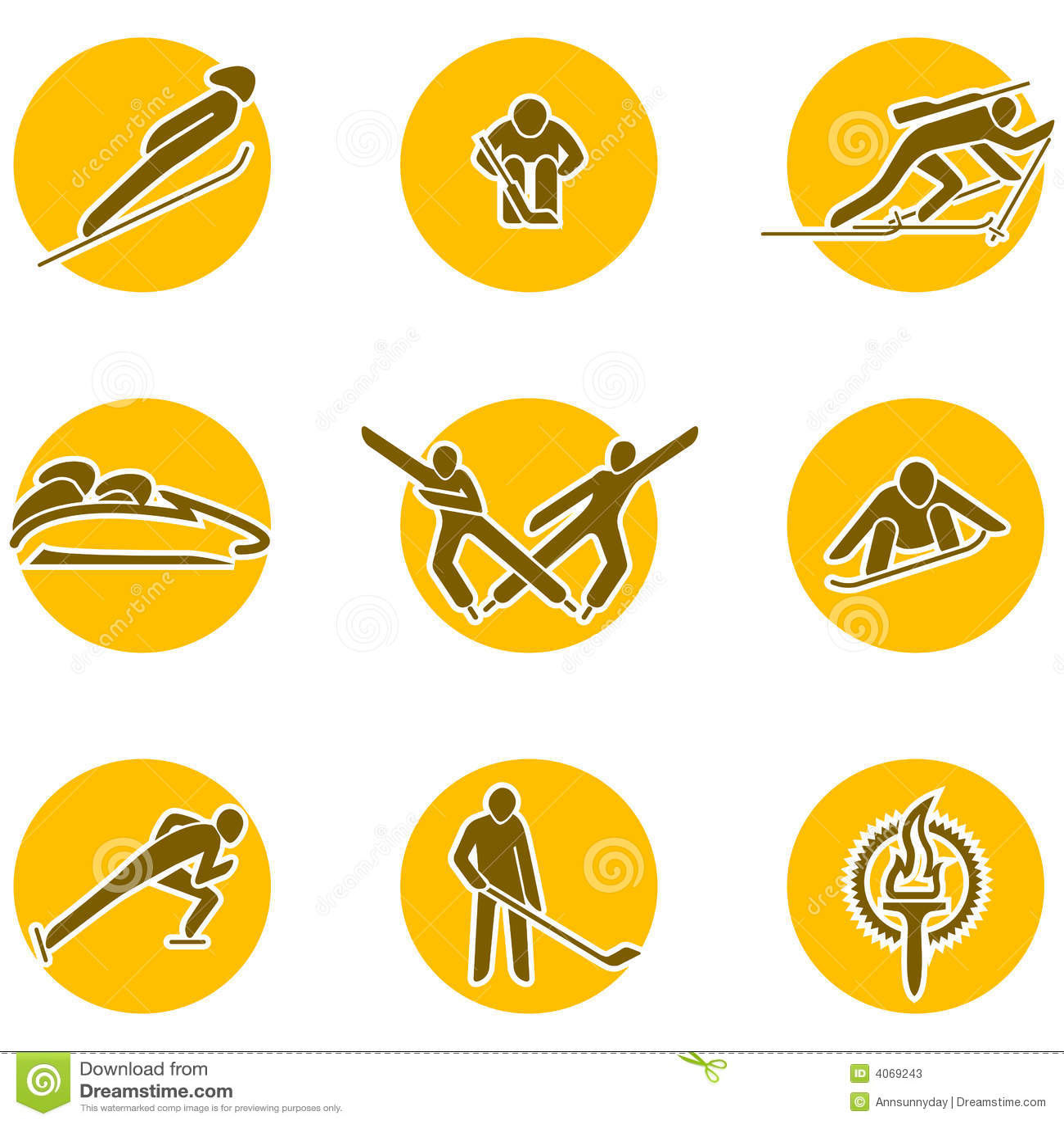 Winter sports icon set