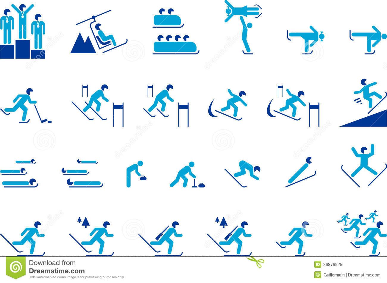 Winter Sports Icons Royalty Free Stock Photo - Image: 36876925