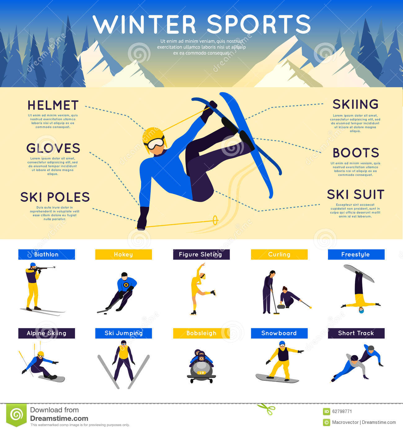 Winter sports infographics stock vector image 62798771 for Sports infographics templates