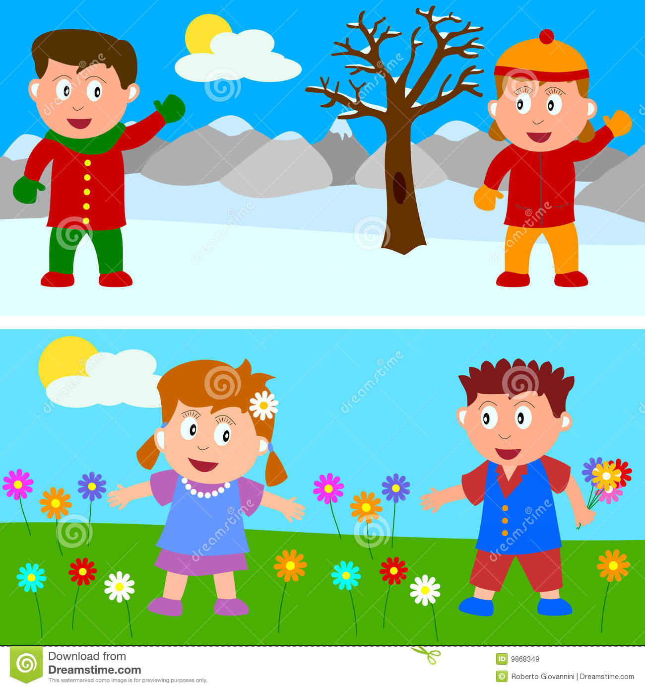 winter spring kids banner royalty free stock images - Spring Pictures For Kids