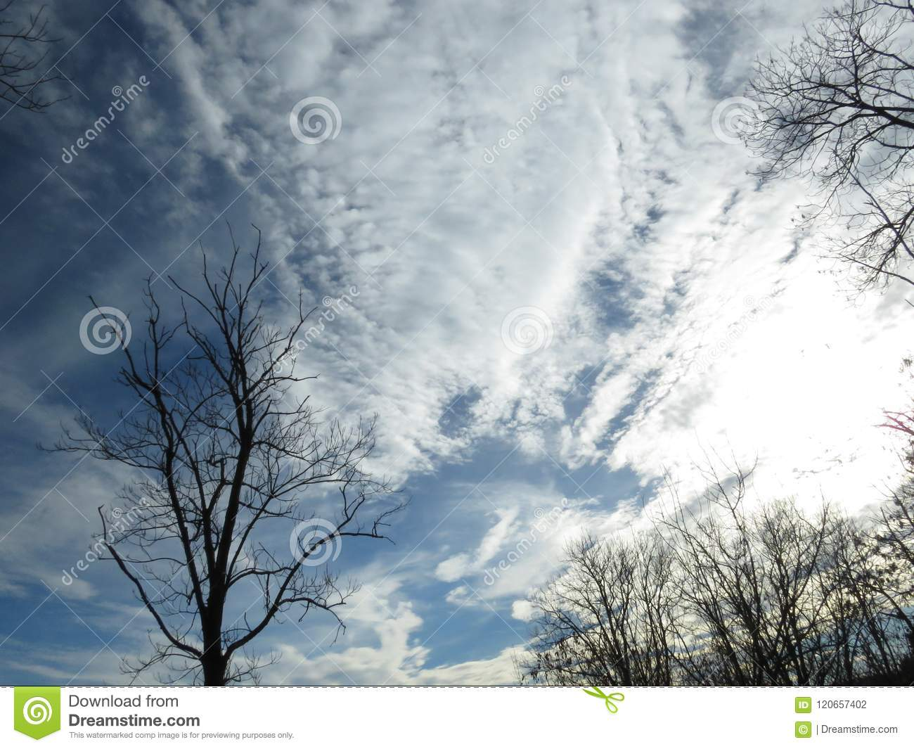 Autumn Winter stormy sky full of white clouds. Weather forecast concept. Oxygen, environment.