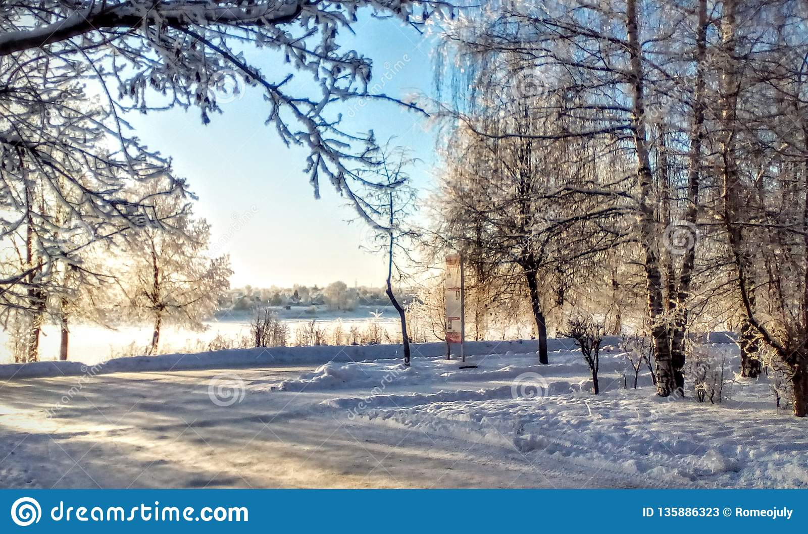 Winter On The Streets Stock Image Image Of Nature Frosty 135886323