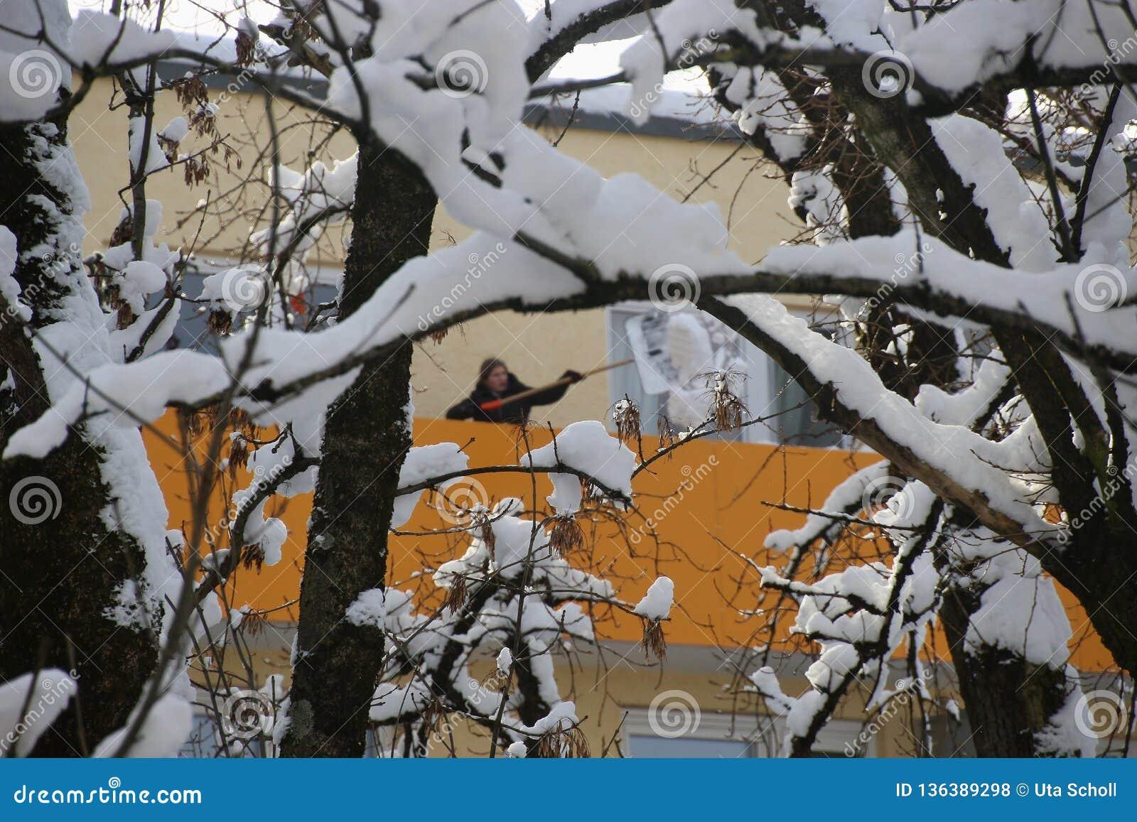 Winter in the suburb. Salzburg city, Austria.