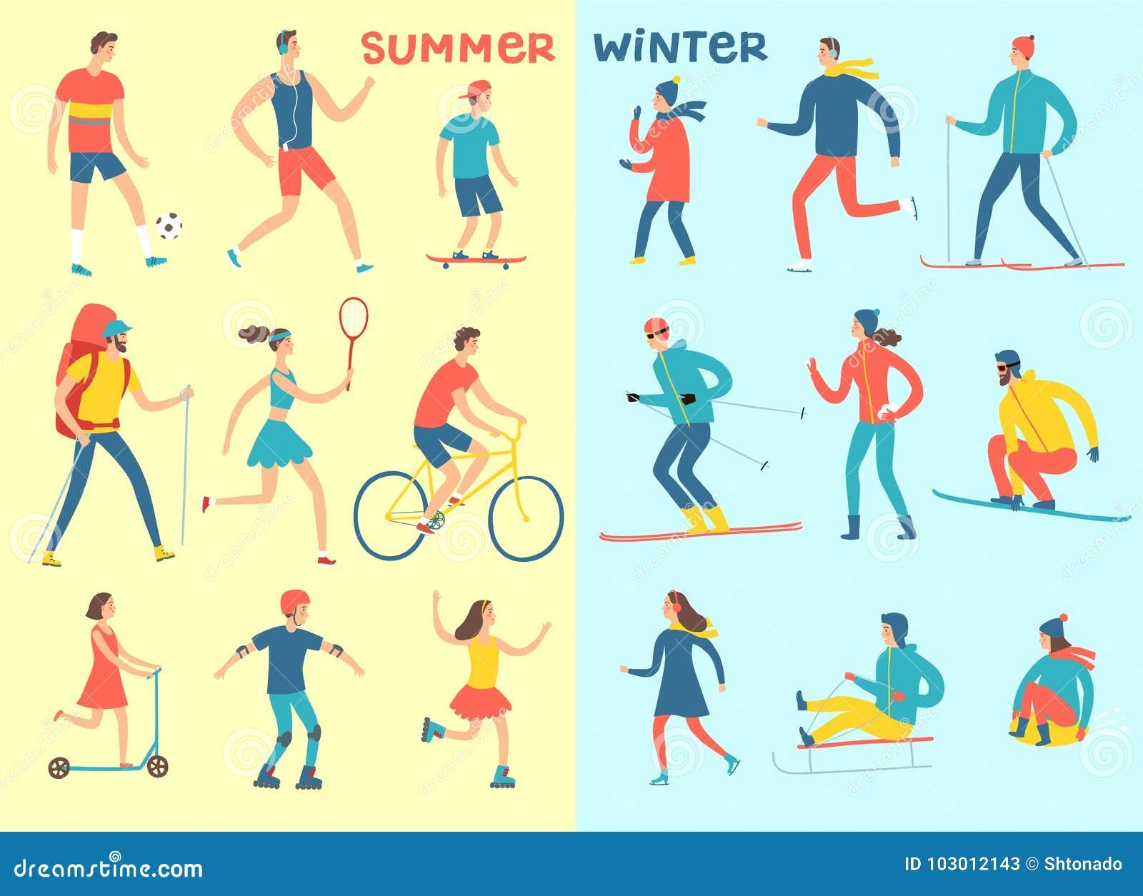Winter And Summer Activities Cartoon Set