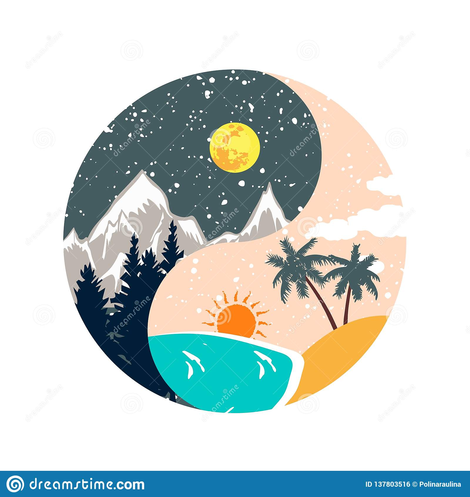 Winter and summer ying yang illustration