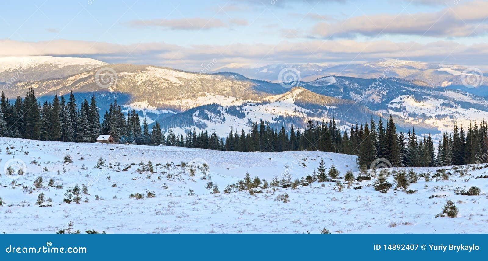 Winter Sunrise Mountain Landscape Royalty Free Stock