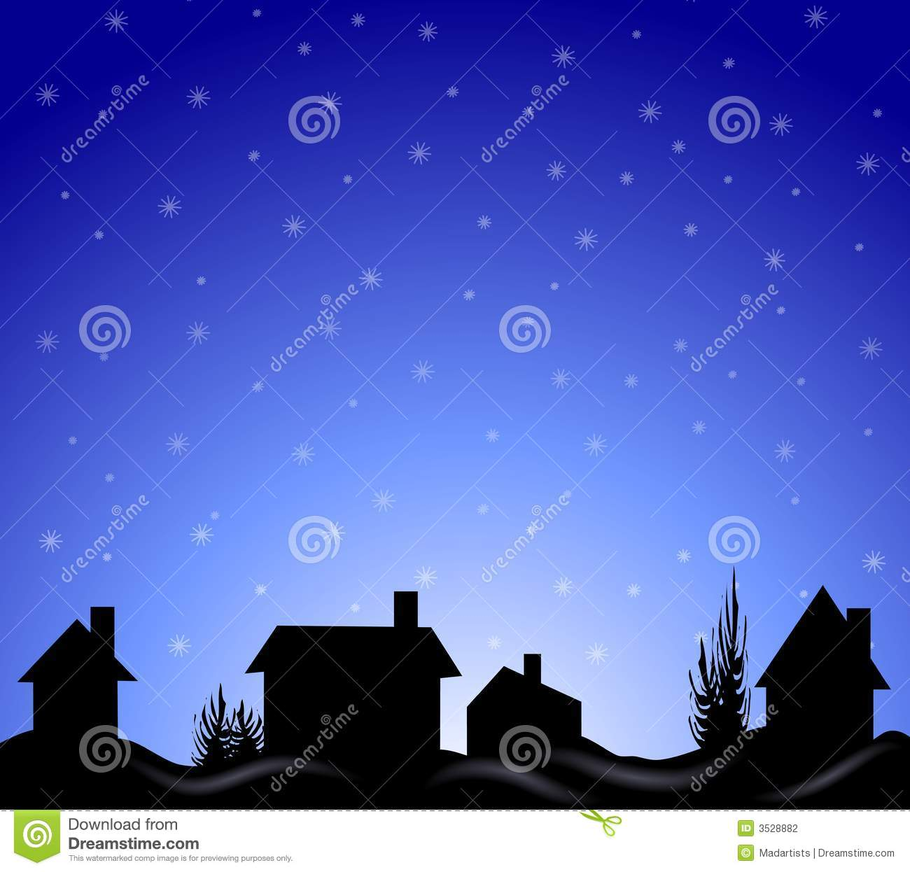 clip art illustration of a winter night scene with houses and trees ...