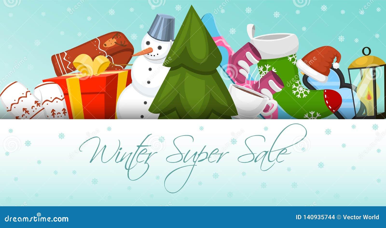 Winter super sale banner vector illustration. Nature landscape with Christmas tree, snowmen, sledge, snowboard, hat