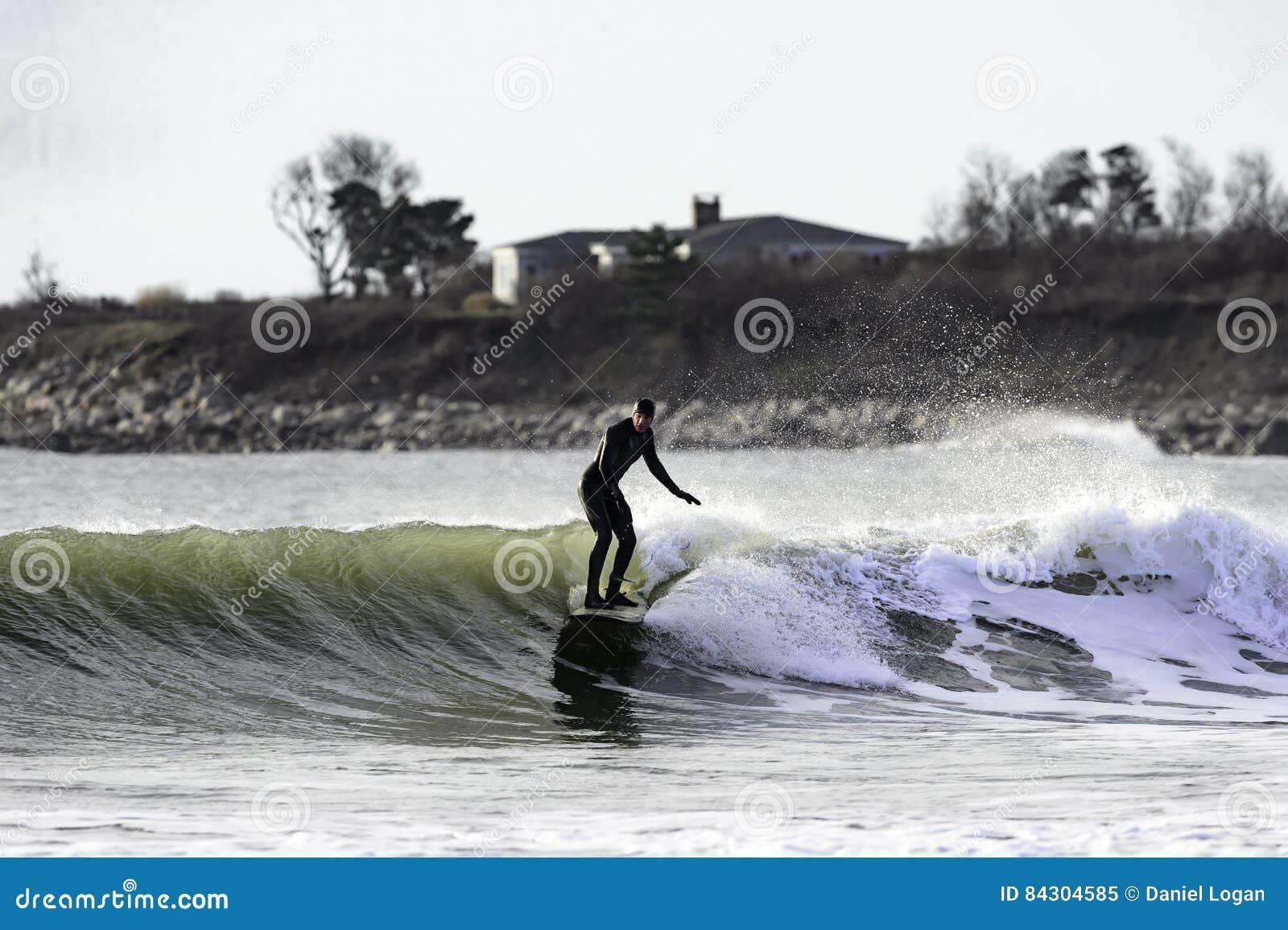 Winter surfing Goosewing Beach